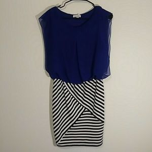 Sheer blue and black and white stripe fitted dress